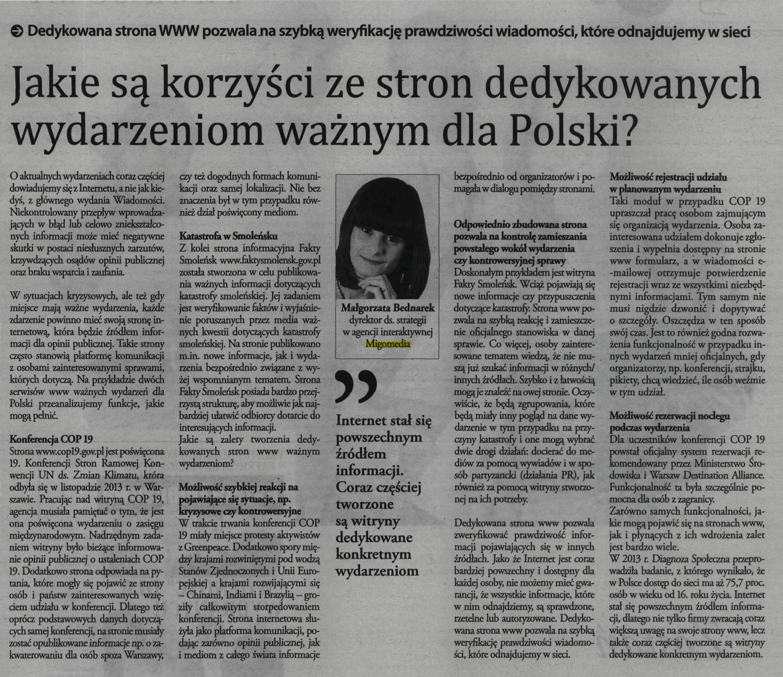 W Gazecie Finansowej Małgorzata Bednarek wyjaśnia, jakie są korzyści ze stron dedykowanych wydarzeniom ważnym dla Polski